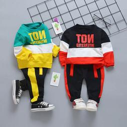 Infant Baby Clothes Boys Long Sleeve Letter Patchwork Tops+P