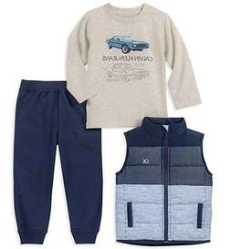 infant boy navy vest 3pc jogger set