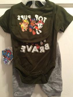 Infant Boys 0-3 Months Paw Patrol 3 Pc Outfit NWT