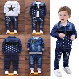 Kids Baby boys casual Outfits denim Tops & Long Pants party