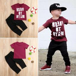 Kids Baby Boys Casual Short Sleeve Tops T-shirt Pants Trouse