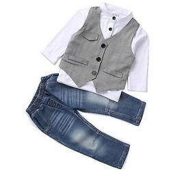 AJia Kids Boys Clothing Sets Shirt and Vest Jeans Clothes Su
