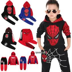 Kids Boys Spiderman Winter Clothes Tracksuit Hoodie Top + Lo