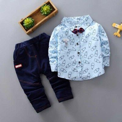 Cute Baby Tops+Long Pants Clothes Outfits Set