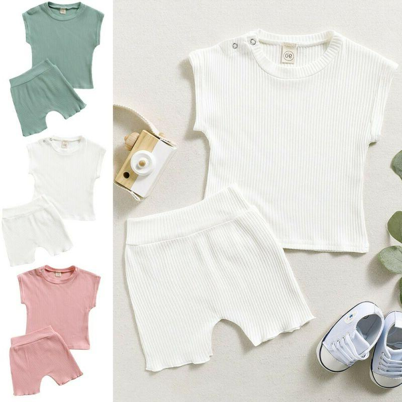 2PCS Toddler Kids Girl Boy Solid T Clothes