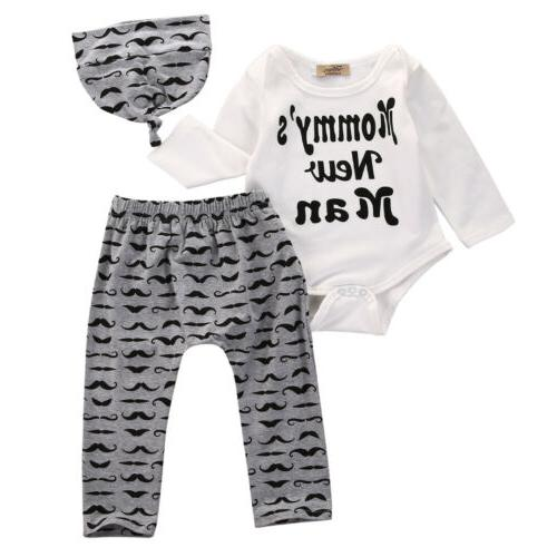 3PC Newborn Baby Romper Tops Long + Hat Outfits