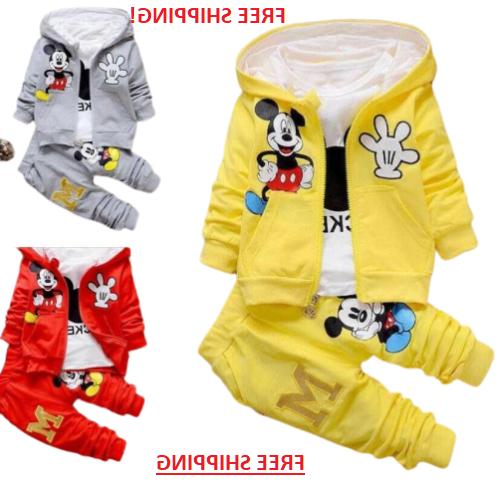 3pcs kids baby boys mickey mouse hooded