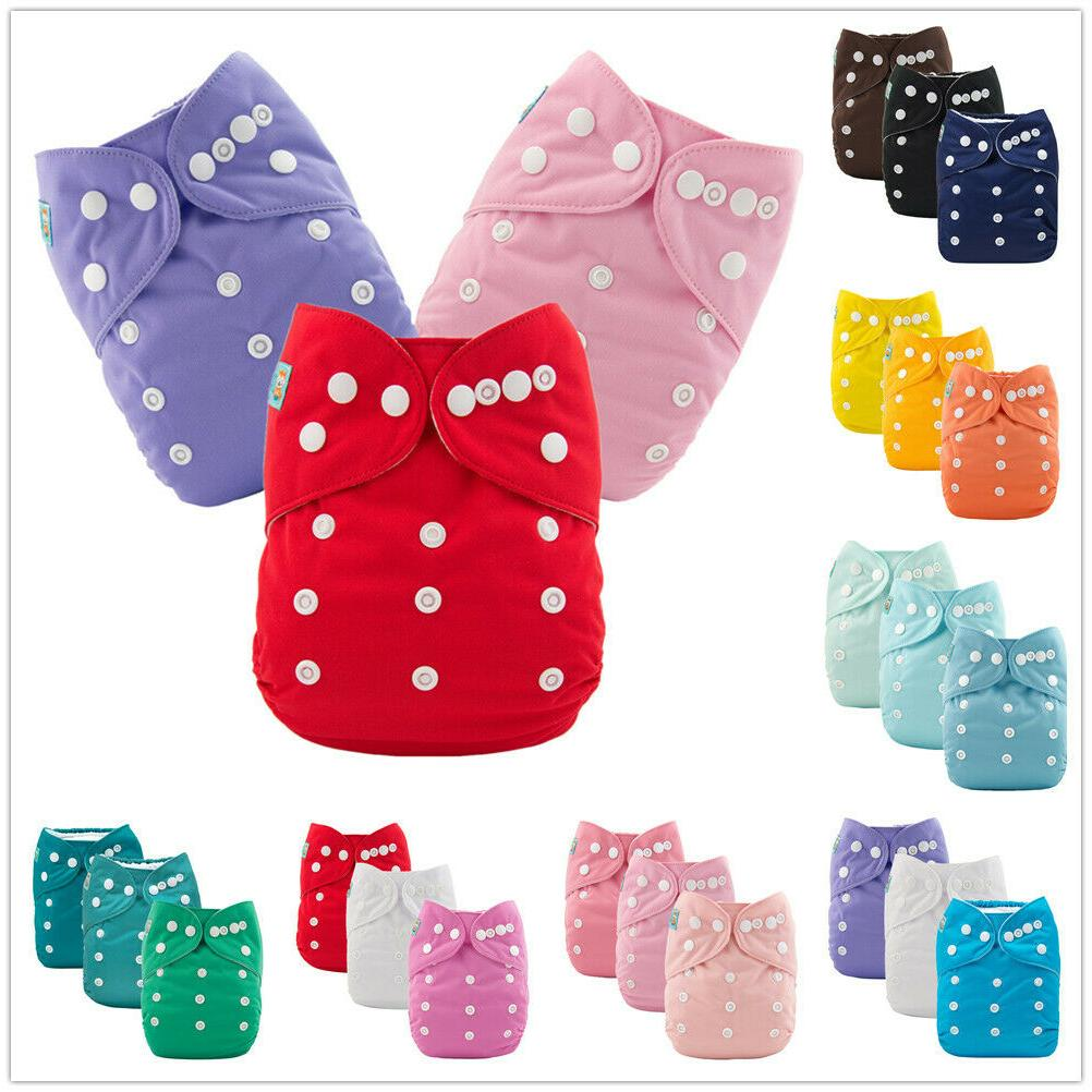 3pcs solid color baby cloth diapers reusable