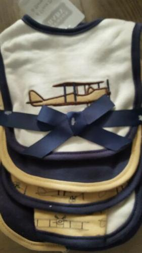 airplane bib burp cloth set