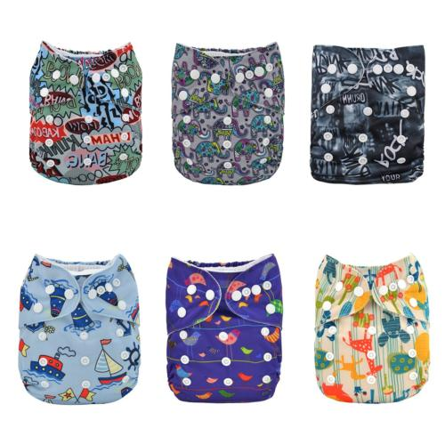 ALVABABY Reuseable Washable Pocket Cloth 6 Diapers + 12 Inse