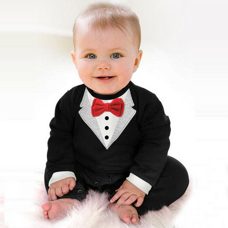 Baby Christening Tuxedo Tie Outfit