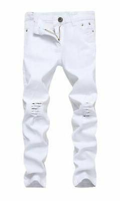 FREDD MARSHALL Boy's White Skinny Fit Ripped Destroyed Distr