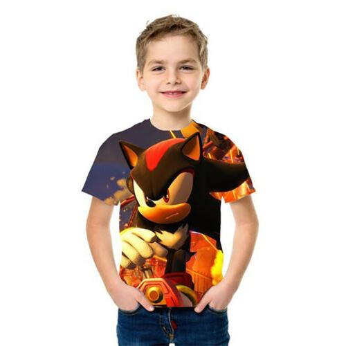Boys Mario Sonic Print Clothes T-shirts Costume Children
