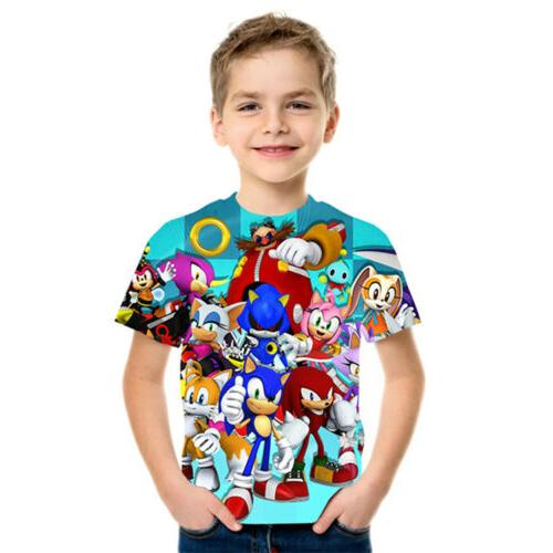 Boys Sonic Print Clothes T-shirts Costume Children
