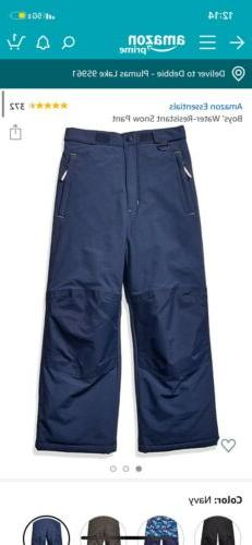 Boys Amazon Essentials Blue Snow Pants Large NWT