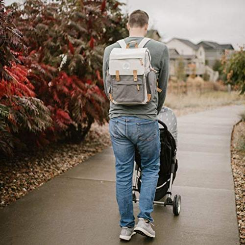 """Parker Baby Backpack - Diaper with Insulated Pockets, Stroller Straps Changing -""""Birch - Cream"""