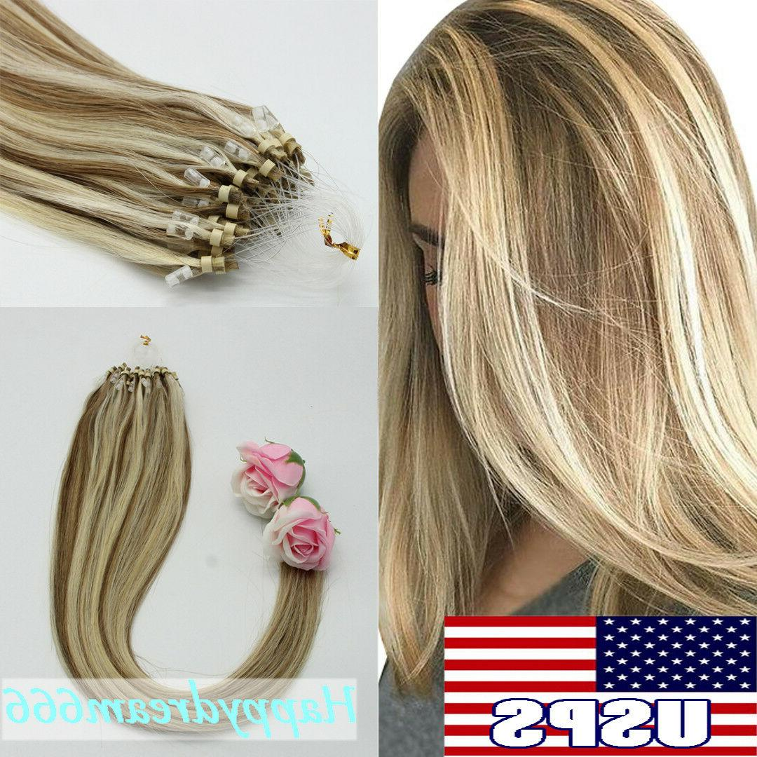 Double Drawn Remy Human Hair Ring Loop Beads Hair