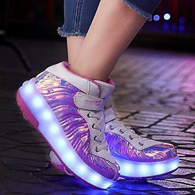 Ehauuo USB LED with Wheels Retractable Skate