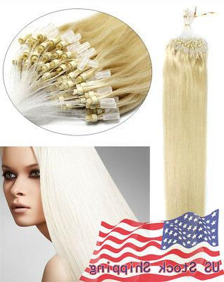 Indian Remy Human Hair Extensions Micro Ring Bead Easy Loop US
