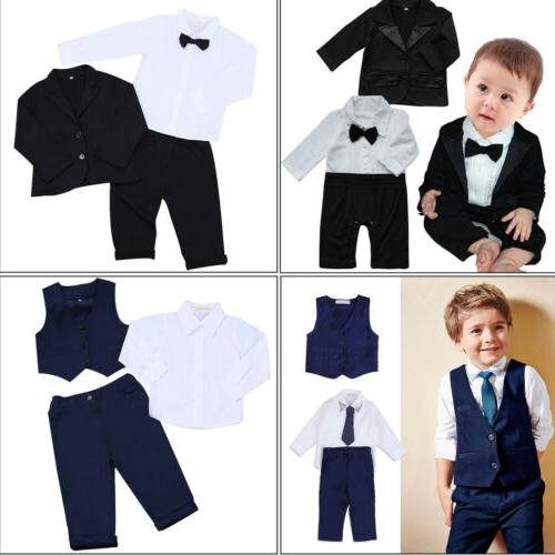 kids baby boys outfit party wedding tuxedo