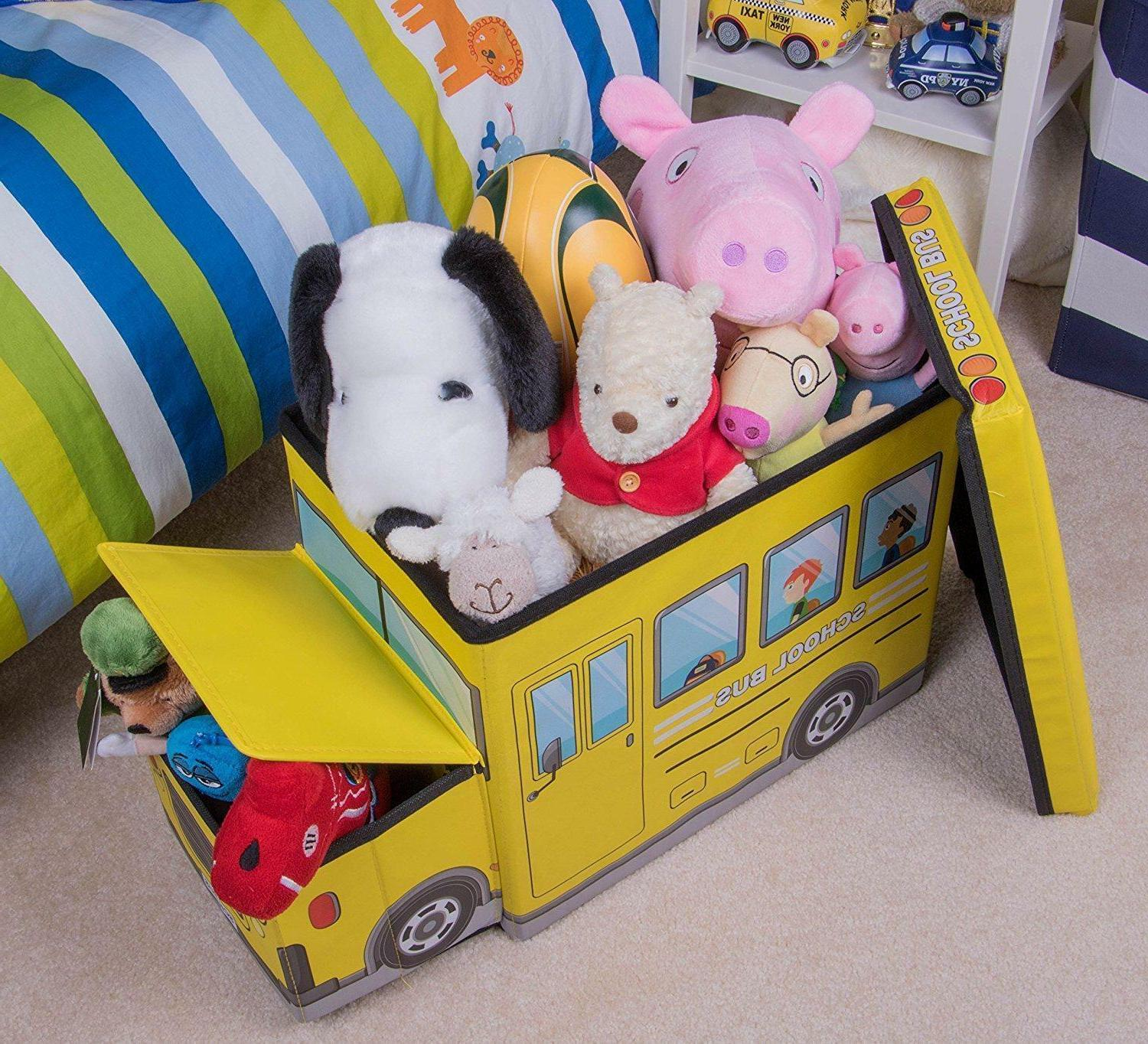 Kids Clothes Storage Seat Bedroom Closet Toy Books Boys Car Gift