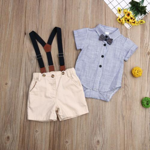 New Baby Boy Gentleman Shorts Outfits Set