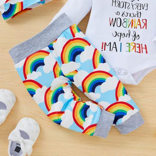 Newborn Baby Girl Rainbow Romper Tops Jumpsuit Pants Outfits Clothes Set