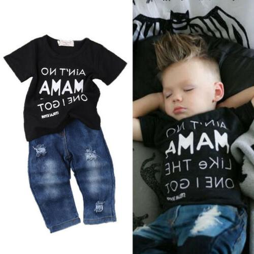 Newborn Toddler Boys Clothes T Tee Tops+Denim Outfits Set