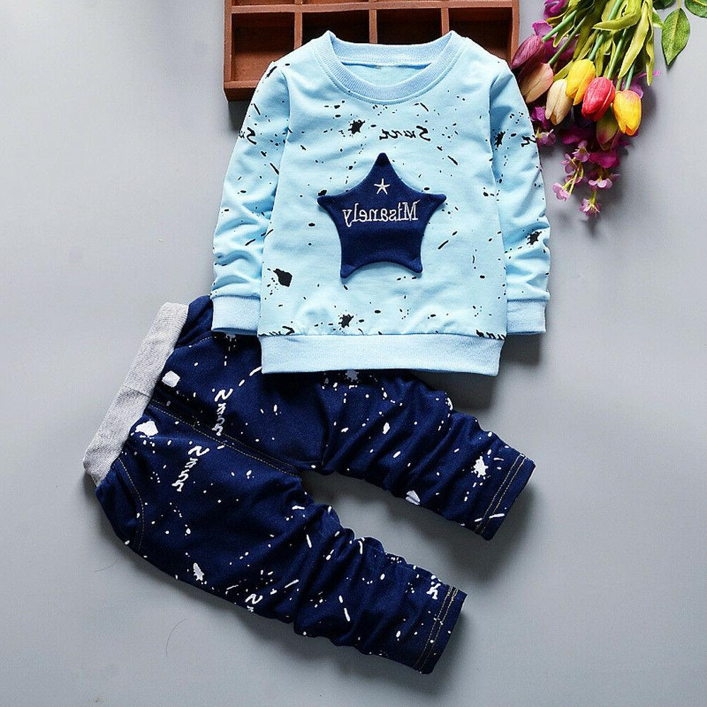Novelty Baby Boy Long Tops+Pants Outfits