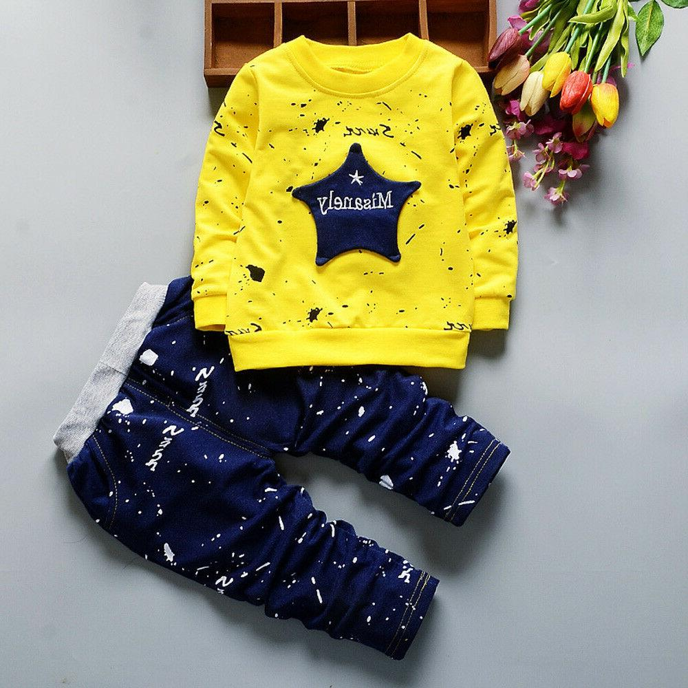 Novelty Kids Baby Boy T-shirt Tops+Pants Outfits