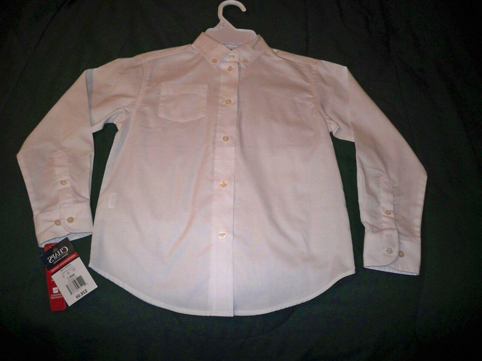 NWT $28 Boys Size 7 CHAPS White Button Up Long Sleeve Dress