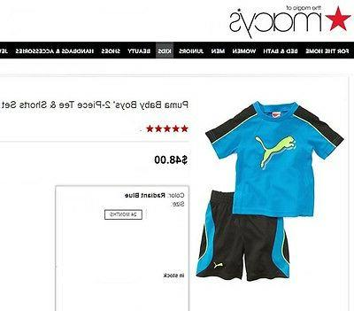 NWT SZ 24 PUMA PC OUTFIT TOP/ SHORTS BLUE,BLACK,YELLOW 2T NEW