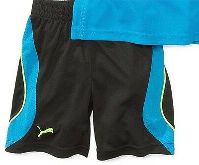 NWT PUMA BOY'S 2 PC OUTFIT SET TOP/ BLUE,BLACK,YELLOW 2T NEW
