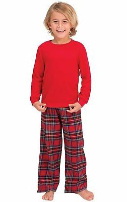 red flannel stewart plaid pajamas with thermal