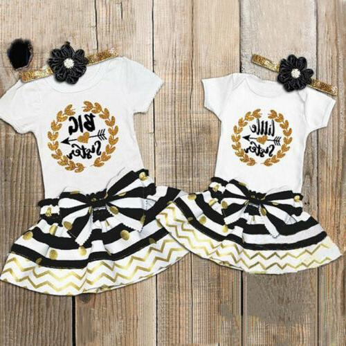 Sister Brother Baby Boys Girls Romper T-shirt Outfits Clothes Set