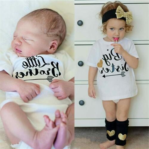 Sister Baby Boys Girls Romper T-shirt Outfits