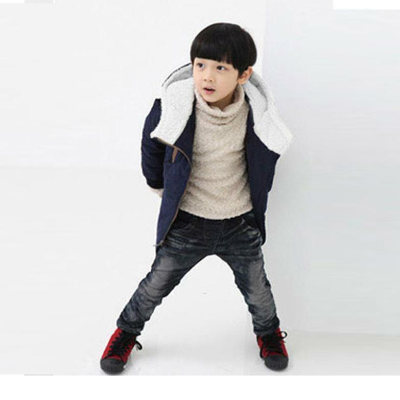 Hot Kids Boy Outerwear Warm Hooded Down Jacket Clothing