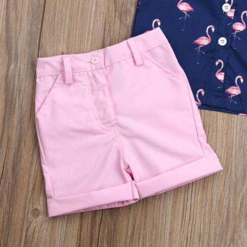 Toddler Kid Clothes Flamingo Shirt Pants