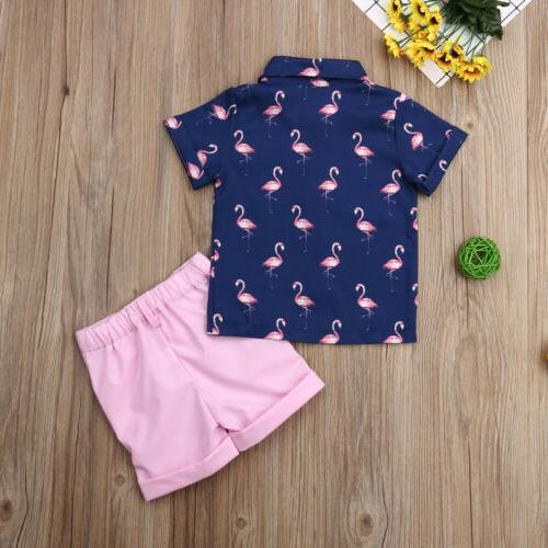 Toddler Kid Baby Clothes Sets Flamingo Shirt Tops Pants