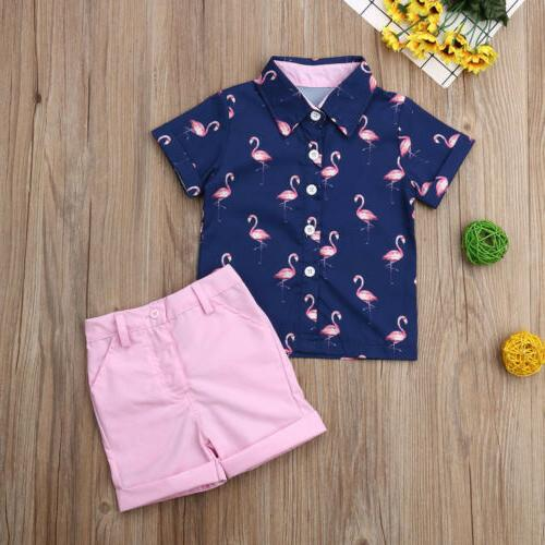 Toddler Kid Clothes Outfits Sets Flamingo Shirt Tops Pants