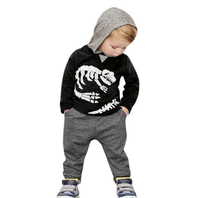 Toddler Girls Boys Dinosaur Bones Clothes Set Tops+Pants Outfit