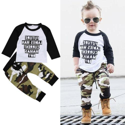 US 2PCS Baby Boys Clothes T Shirt Tops+Camouflage Leggings