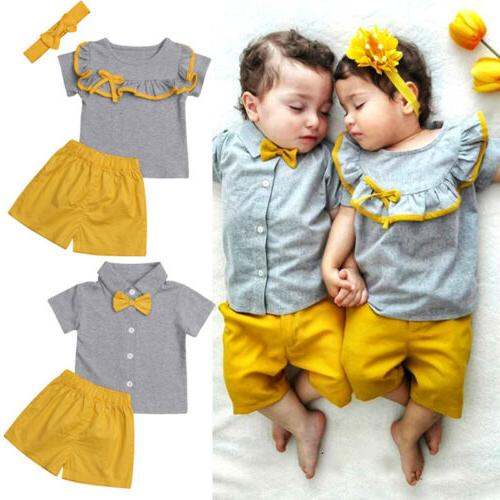 US Big/Little Matching Baby Girl Tops Clothes