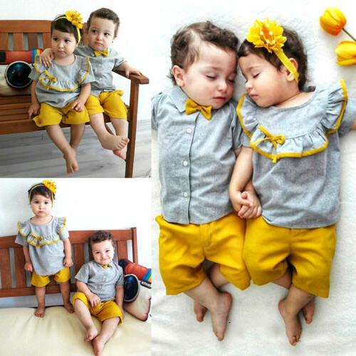 US Brother Matching Baby Tops Outfits