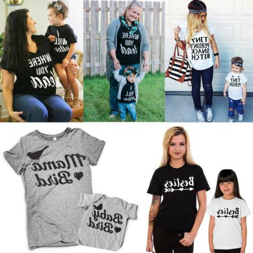 US Mom Baby Girl Boy Clothes Matching Top Clothes