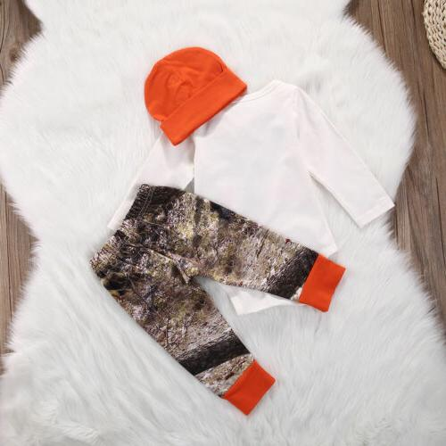 US Baby Boy Girl Deer Romper Wildlife Pants Hat 3pcs Set