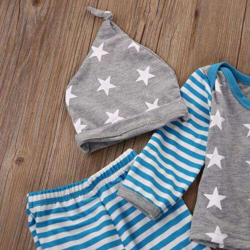 US Baby Boy Girls Pants Leggings Hat Striped Outfit Clothes
