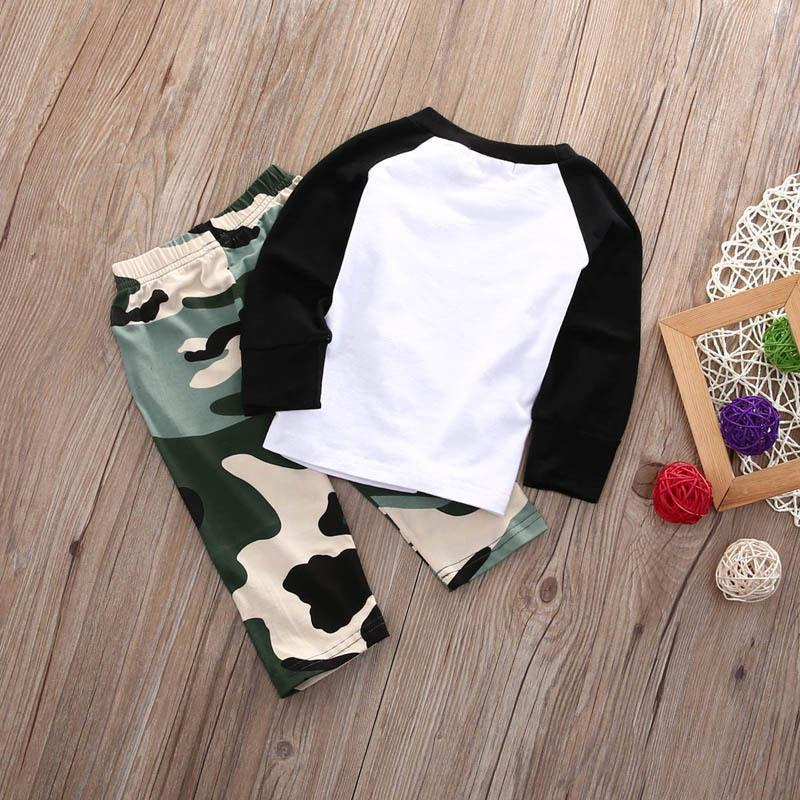 US Stock Baby T Tops+Camouflage Pants Outfits Set