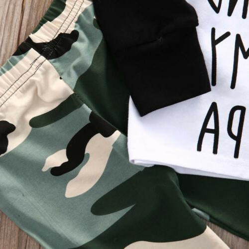 US Kids Baby Boy Shirt Tops+Camouflage Clothes Set