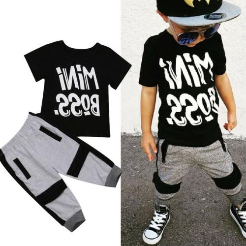 US Toddler Boy T-shirt Tops Harem Pants Outfits Set